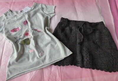 Bonpoint set 3 4 blossom top & crochet skirt macrame NEW girls grey french