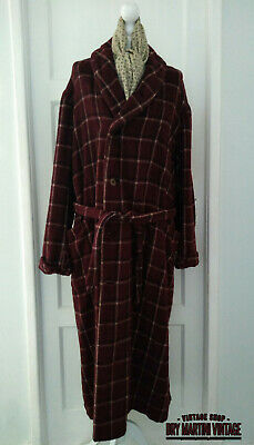 Antique Vintage Mens Wool Plaid Check Dressing Gown Dandy Dapper Xmas Gift