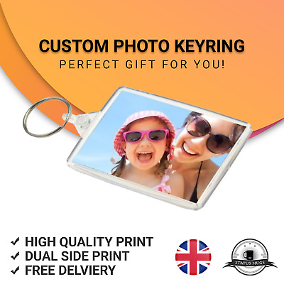 PERSONALISED * CUSTOM * ACRYLIC KEYRING 50mm x 35mm * Photo * Logo * 2-Sided