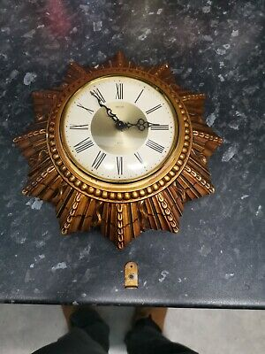 Antique/Vintage Smiths 8 Day Wind Up Wall Clock, Sunburst Spares Repair Only
