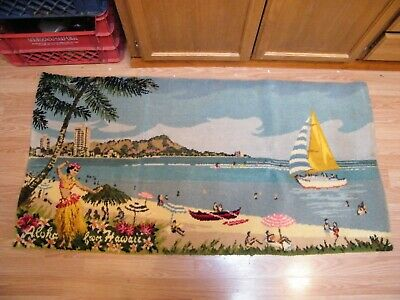 "Vintage Aloha From Hawaii Hula Girl Hawaiian Scene 53"" X 27"" Rug / Wall Hanging"