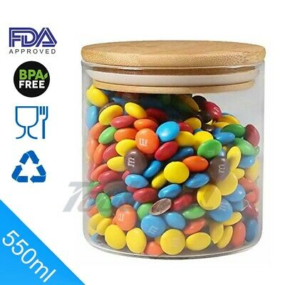 18.6oz/550ml Safe Clear Borosilicate Glass Jar with Wooden Lid-Canister for Food
