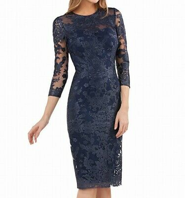 JS Collections Women's Blue Size 12 Embroidered Lace Sheath Dress $199 #397