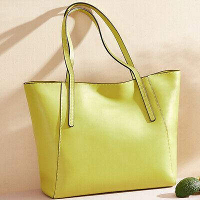 100% Genuine Leather Women's Yellow Large Capacity Handbags Elegant Satchel Tote
