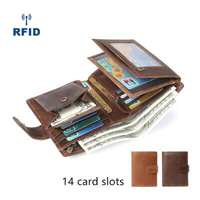 Men's RFID Blocking Leather Wallet Trifold Purse Credit Card Holder Coin Pockets