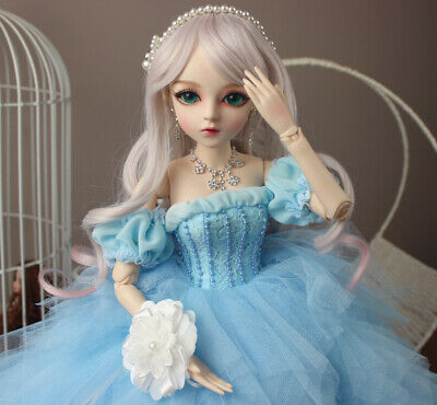 60cm BJD Doll 1/3 Ball Jointed Bride With Eyes Wedding Dress Clothes Full Set