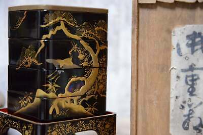 Mother of pearl gold leaf lacquer Jubako wooden box Japanese antique small box