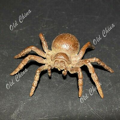 Vintage Collectible Chinese Old Pure Solid Copper Handwork Insect Spider Statue