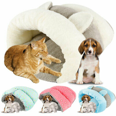 Pet Cat Dog Nest Bed Puppy Soft Warm Cave House Winter Sleeping Bag Mat Pad UK .
