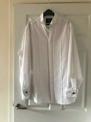 "Skopes ~ Long Sleeved White Pleated Evening Shirt ~ Wing Collar ~ 17"" Collar"