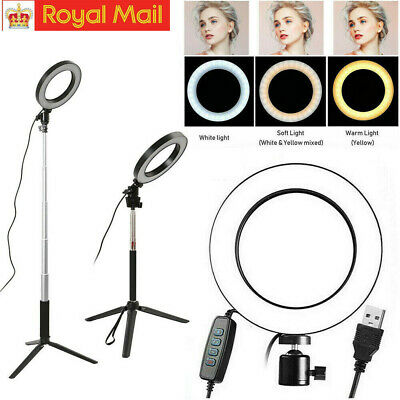 Studio LED Ring Light w/ Tripod Stand Dimmable Photo Video Lamp Kit For Camera U