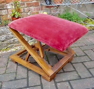 Art Deco Era Adjustable Folding Oak Gout Stool~Footstool~Double Ratchet Supports