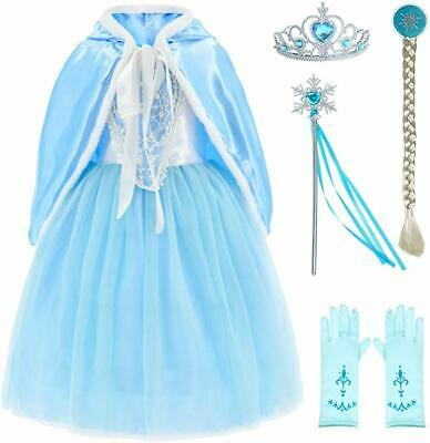 Christmas Girls Kids Snow Queen Fancy Dress Up Costume Party Hooded Cape Cloak