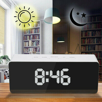 Simple Creative LED Digital Alarm Clock LCD Monitor Night Light Thermometer CA
