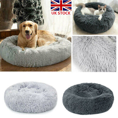 Large Pet Bed Luxury Shag Warm Fluffy Dog Bed Nest Cat Fur Donut Pad Cushion UK