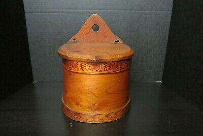 Primitive Scandinavian Wood Wall-Hanging Salt/Spice Box W/ Hinged Lid