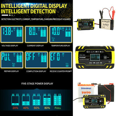 4A 8 Amp Intelligent Car Battery Charger Pulse Repair Starter 12V/24V AGM/GEL UK