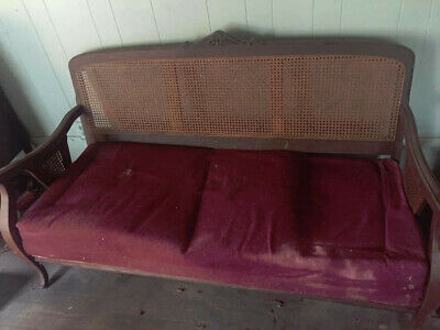 antique furniture with mahogany wood and red polstry early American