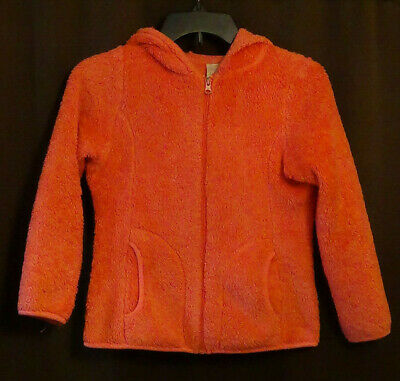 Orange Girls Fleece Jacket with Hood Faded Glory Size M (7-8)