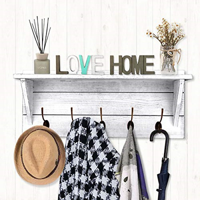 Rustic Coat Rack Wall Mounted,Wall Coat Hooks with 2 DIY Decorations Entryway 5