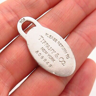 """Tiffany & Co. 925 Sterling Silver """"Please Return to Tiffany"""" Oval Tag Pendant"""