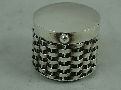 MODERN solid silver `BASKET BOX` PILL BOX, 32gm