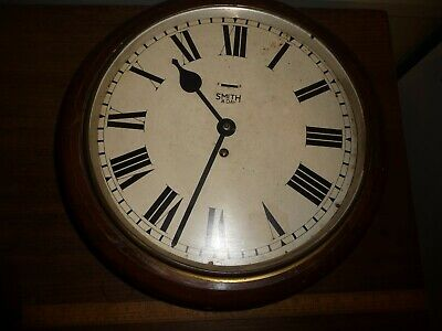 WW2 Smiths NAAFI Clock.Antique Smiths 8 Day Round Wood cased Wall Clock .