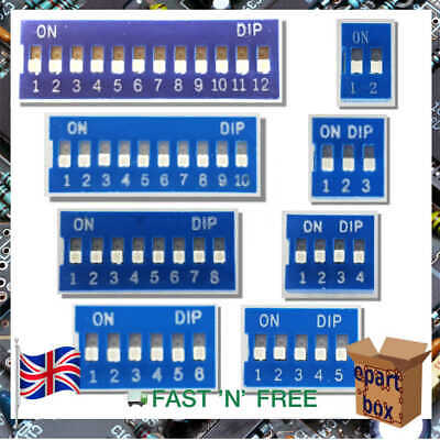 Flat Dial Slide Dip Switch Module 2.54mm DIL SPST 2-3-4-5-6-8-10-12 Pin