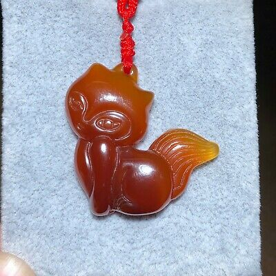 Chinese Red Agate Handwork Collectible Jade Carving Fox Princess Jewelry Pendant