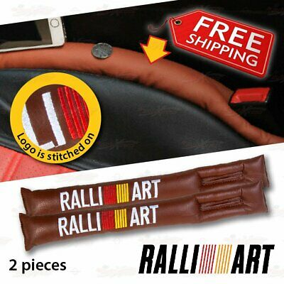 2 PC Leather Leak Proof Gap Soft Filler Car Seat Stopper Pads for RALLIART BROWN