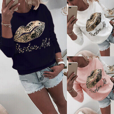 Womens Sequins Lip Tops Pullover T Shirt Ladies Long Sleeve Loose Jumper Blouse