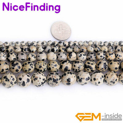 Natural Round Dalmatian Jasper Facted Stone  Beads For Jewelry Making Strand 15""