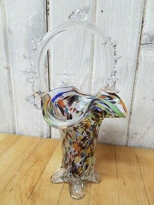VINTAGE 60s MURANO GLASS MULTI COLORED HAND BLOWN BASKET VASE