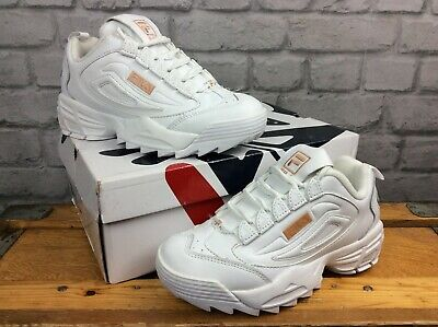 FILA LADIES UK 4 Eu 37.5 Disruptor Iii White Bronze Leather