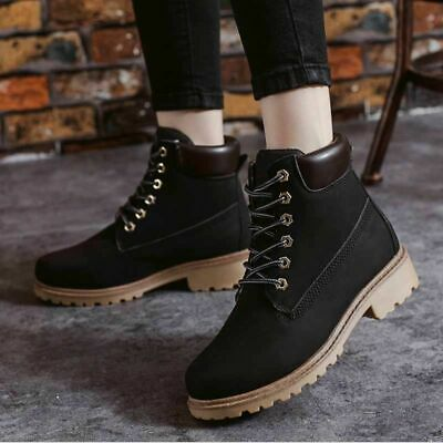 US Women's Work Ankle Boots Winter Punk Shoes Leather Outdoor Waterproof