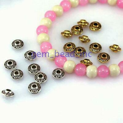 100 Pcs Tibetan Silver Metal Craft Finding Jewelery Accessories Spacer Beads 6mm