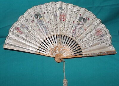 Vintage Antique Chinese Japanese hand painted folding fan