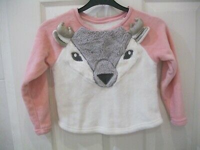 Matalan Age 6 Years Pink White Pyjama Top Pjs Reindeer Christmas Fluffy
