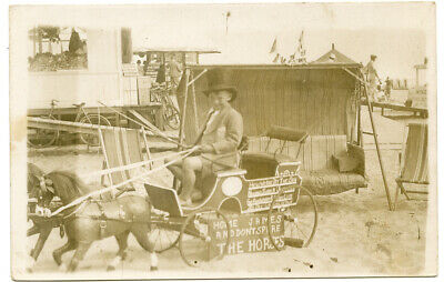 RPPC Young Man in Wooden Horse Drawn Wagon on Beach Home James Wood Horses