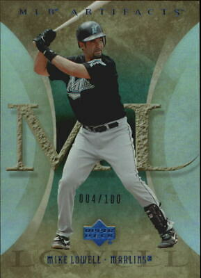 2005 Artifacts Rainbow Blue Florida Marlins Baseball Card #71 Mike Lowell /100
