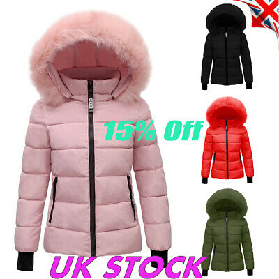 Womens Quilted Bubble Puffer Coat Ladies Winter Fur Collar Hooded Jacket Parka