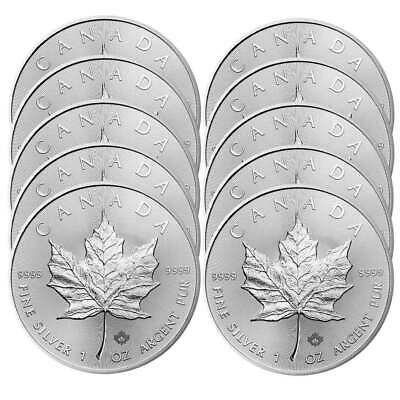 Lot of 10 - 2020 $5 Silver Canadian Maple Leaf 1 oz Brilliant Uncirculated