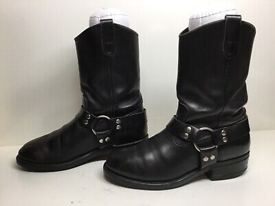 Vtg Mens Double H Harness Motorcycle Black Boots Size 9.5?