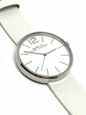 Womens Marc Jacobs White Genuine Leather Stainless Steel Quartz Watch MBM1361