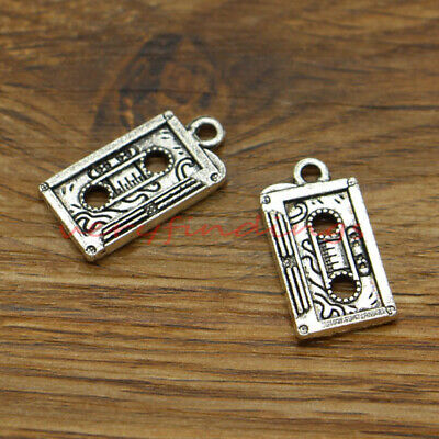 BULK 30 Cassette Tape Charms Antique Silver Tone Retro Flashback SC525