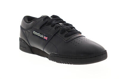 Reebok Workout Low CN0637 Mens Black Leather Lace Up Low Top Sneakers Shoes