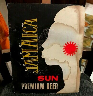 Vintagejamaica Sun Beer Sunshine Brewing Co Cardboard Sign Reading Pa
