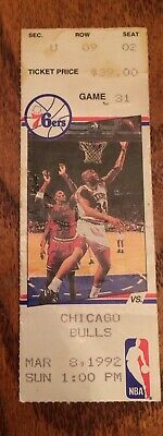 3/8/92 - Michael Jordan Ticket Stub - Chicago Bulls Vs Philadelphia 76ers
