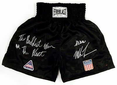 Iron Mike Tyson Autographed Signed Everlast Boxing Berbick Trunks ASI Proof