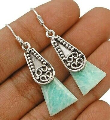 Natural Russian Amazonite 925 Solid Sterling Silver Earrings Jewelry D11-3